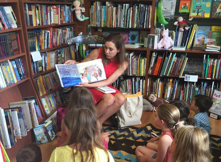 Kell Andrews at story time at BookTowne