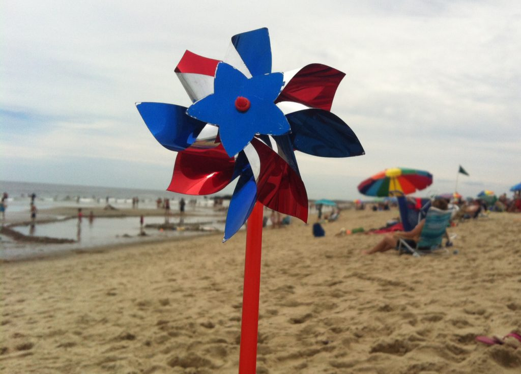Fourth of July pinwheel at beach